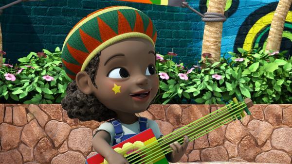 Shanna spielt auf ihrer alten Gitarre. | Rechte: KiKA/FunnyFlux/QianQi/EBS/CJ E&M