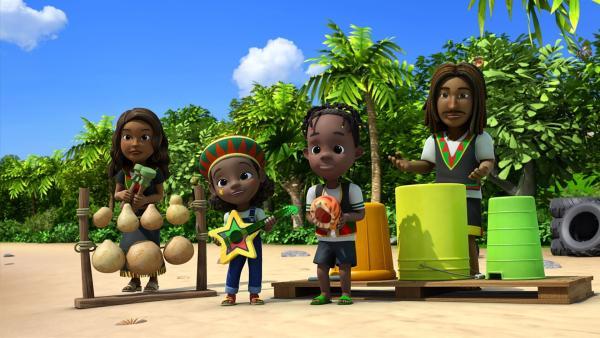 Shannas Familie tritt mit Reggae-Musik auf. | Rechte: KiKA/FunnyFlux/QianQi/EBS/CJ E&M