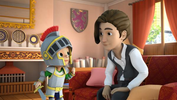Carlos verkleidet sich als Ritter. Nur ein Pferd fehlt ihm noch. | Rechte: KiKA/FunnyFlux/QianQi/EBS/CJ E&M