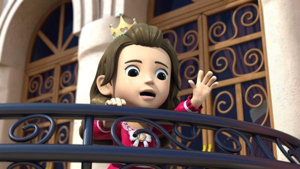 Auf einem Balkon wartet Prinzessin Isabel darauf, gerettet zu werden.   Rechte: KiKA/FunnyFlux/QianQi/EBS/CJ E&M
