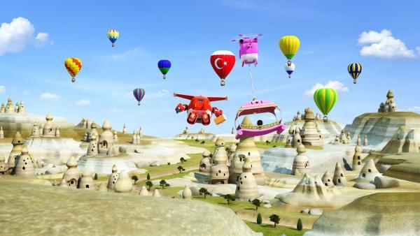 Ecrin wird von Dizzy und Jett zu ihrem Vater geflogen. Er ist Heißluftballonpilot. | Rechte: KiKA/FunnyFlux/QianQi/EBS/CJ E&M
