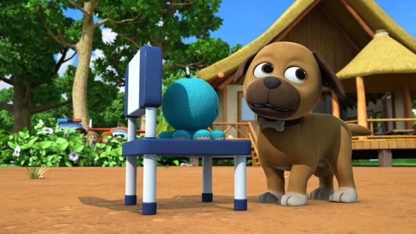 Interessiert sich Hund Strolch etwa für das Spielzeug der Kinder? | Rechte: KiKA/FunnyFlux/QianQi/EBS/CJ E&M