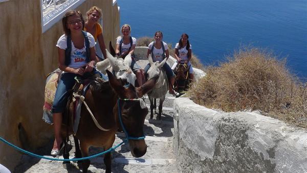TANZALARM! - Auf Europatour; Singa und die Tanzalarm-Kids auf Eseln unterwegs in Griechenland, auf der Insel Santorin. | Rechte: KI.KA/ZDF/MingaMedia