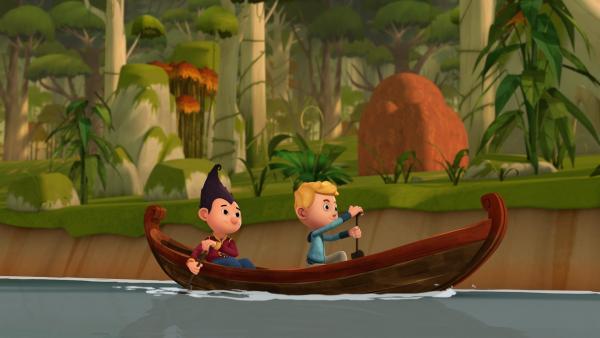 Tashi und Jack suchen nach Zutaten für ihr Ketchup.  | Rechte: KiKA/Flying Bark Productions Pty Ltd.