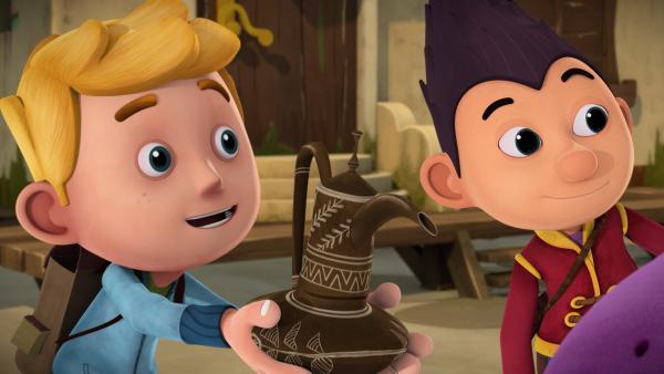 Jack und Tashi bitten den Dschinni,  ihnen drei Wünsche zu erfüllen. | Rechte: KiKA/Flying Bark Productions Pty Ltd.