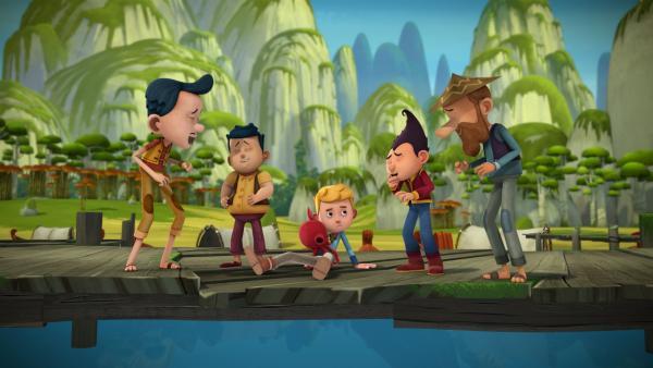 Tashi und die Dorfbewohner machen sich über Jacks mickrigen Fang lustig.   | Rechte: KiKA/Flying Bark Productions Pty Ltd.