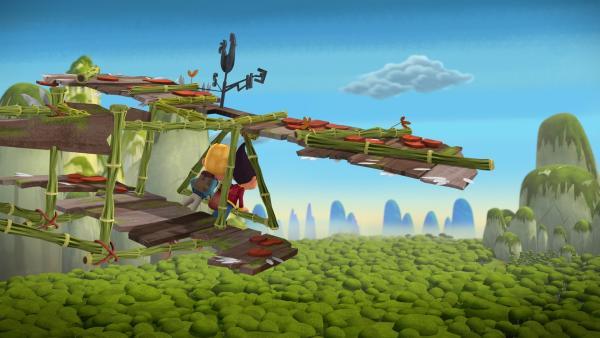 Jack und Tashi fliegen zum Drongo-Berg, um nach Schimmer-Morcheln zu suchen.  | Rechte: KiKA/Flying Bark Productions Pty Ltd.