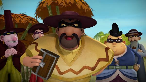 Die Banditen haben sich Ömchens Schatzkiste ergaunert.   | Rechte: KiKA/Flying Bark Productions Pty Ltd.