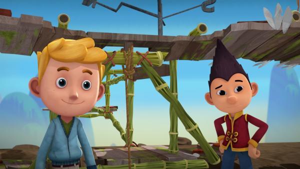 Jack und Tashi sind gespannt auf den Wettflug. | Rechte: KiKA/Flying Bark Productions Pty Ltd.