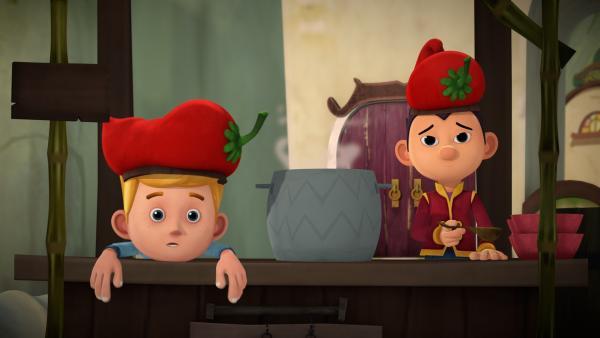 Jack und Tashi versuchen vergeblich, an einem heißen Tag Chili zu verkaufen. | Rechte: KiKA/Flying Bark Productions Pty Ltd.