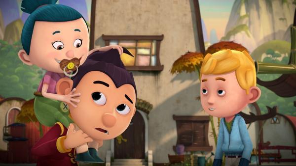 Tashi und Jack müssen schon am frühen Morgen auf Tashis kleine Cousine aufpassen. | Rechte: KiKA/Flying Bark Productions Pty Ltd.