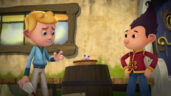 Jack und Tashi versuchen den Dieb mit einem Pfefferbeeren-Müfflé zu locken.  | Rechte: KiKA/Flying Bark Productions Pty Ltd.