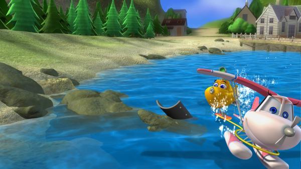 Timmy ist mit Suzie zum Wasserskifahren verabredet und hat alles Andere im Kopf als zu arbeiten. Er überredet Bess ebenfalls zum Wasserskifahren mitzukommen. | Rechte: KiKA/Mike Young Productions