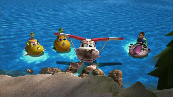 Wasserflugzeug Suzie ist durch einen Sturm beschädigt worden und wird von Taucher Tom, Skid, Timmy und Bess gerettet.   Rechte: KI.KA/Mike Young Productions
