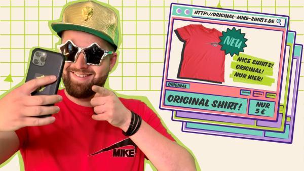 Ob Tim da wirklich ein echtes T-Shirt im Netz gekauft hat? | Rechte: KiKA