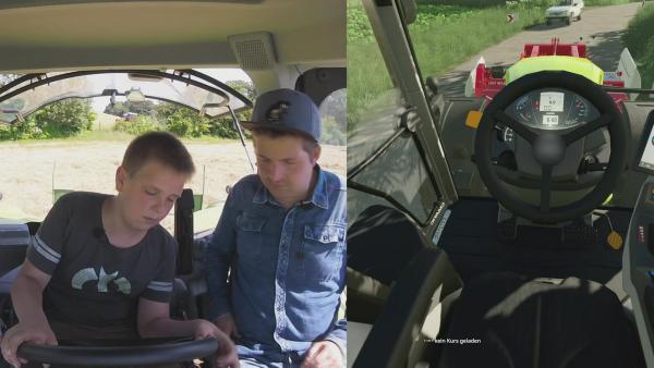 Friedjof zeigt Tim, wie man einenTraktor fährt. | Rechte: KiKA