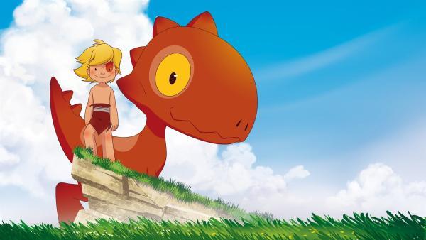 Tib und mit seinem T-Rex Freund Tumtum | Rechte: KiKA/hr/TF1/GO-N Productions