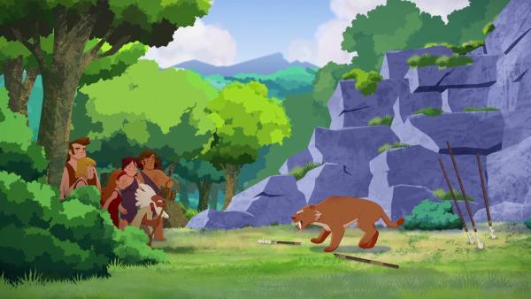 Auf der Suche nach Tib werden die Eltern von einem Säbelzahntiger angegriffen.   | Rechte: KiKA/hr/TF1/GO-N Productions