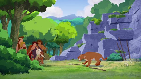 Auf der Suche nach Tib werden die Eltern von einem Säbelzahntiger angegriffen.     Rechte: KiKA/hr/TF1/GO-N Productions