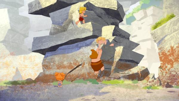 Tib, Nob und Nic klettern auf den Felsen, um Lad zu befreien, doch das ist gar nicht so einfach.     Rechte: KiKA/hr/TF1/GO-N Productions