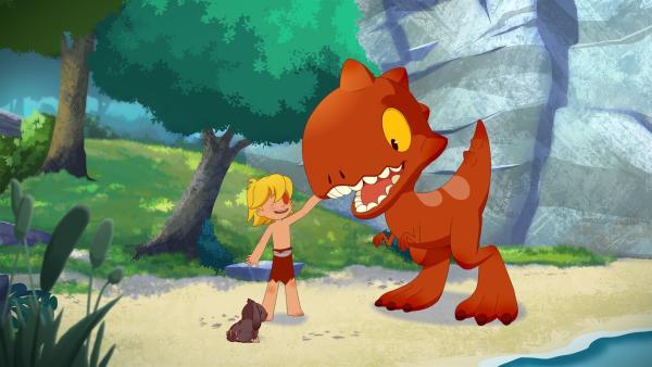 Als Tib in den Wald zu Tumtum geht, läuft ihm das Häschen nach.     Rechte: KiKA/hr/TF1/GO-N Productions