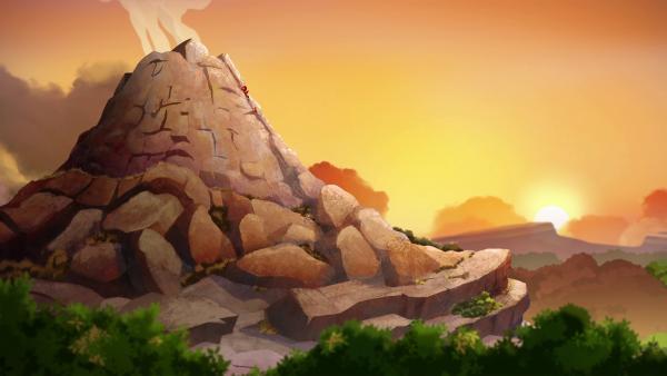 Tara und Lad locken Tumtum zum Vulkan. Bei Sonnenuntergang soll er sich hier in einen Jungen zurückverwandeln.  | Rechte: KiKA/hr/TF1/GO-N Productions