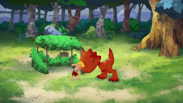 Tib will seinen Freund nicht verlassen. Er versteckt sich mit Tumtum im Wald und baut sich ein eigenes Lager.   | Rechte: KiKA/hr/TF1/GO-N Productions