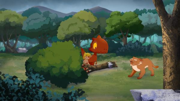 Kaum geht es Tumtum besser, treffen sie im Wald erneut auf Säbelzahn.     Rechte: KiKA/hr/TF1/GO-N Productions