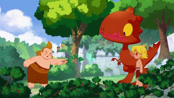 Nob beschuldigt Tumtum, der einen verdächtig roten Himbeermund hat. War es wirklich Tumtum oder stecken Lad und Nic dahinter?   | Rechte: KiKA/hr/TF1/GO-N Productions