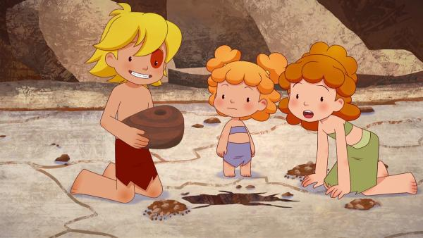 Im Vulkan finden Tib, Tara und Kori ein Gefäß. Haben sie tatsächlich das Amulett gefunden?   Rechte: KiKA/hr/TF1/GO-N Productions