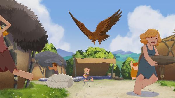 Der Adler verfolgt Lad und seine Bande bis ins Dorf, wo er die Bewohner in Angst und Schrecken versetzt. | Rechte: KiKA/hr/TF1/GO-N Productions