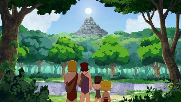 Lad und Tom machen sich mit ihren Söhnen Lad und Tib auf den Weg zur großen Felswand, um dort nach einer seltenen Blume zu suchen. | Rechte: KiKA/hr/TF1/GO-N Productions