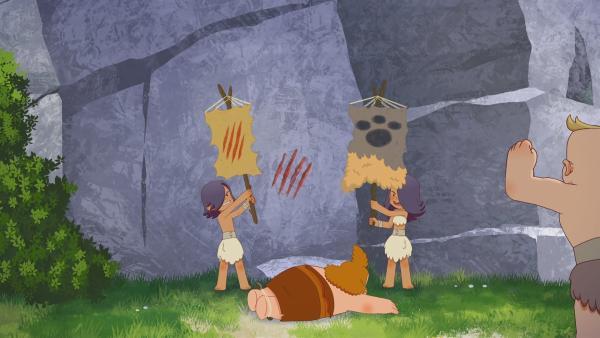 Durch einen Fehler von Lad verlieren die Tiger ihre Flagge an die Bären.   Rechte: KiKA/hr/TF1/GO-N Productions