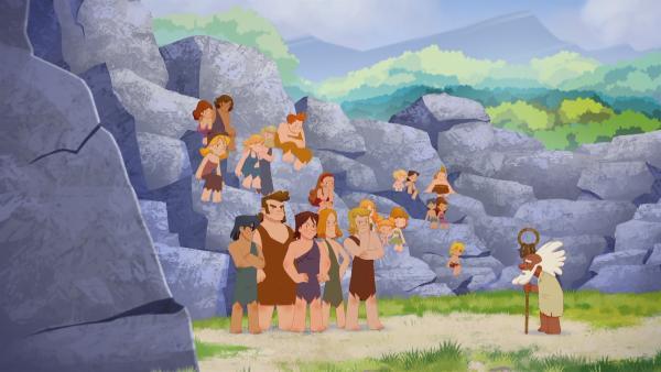 Die Dorfbewohner bringen sich an einem Felsen in Sicherheit.   Rechte: KiKA/hr/TF1/GO-N Productions