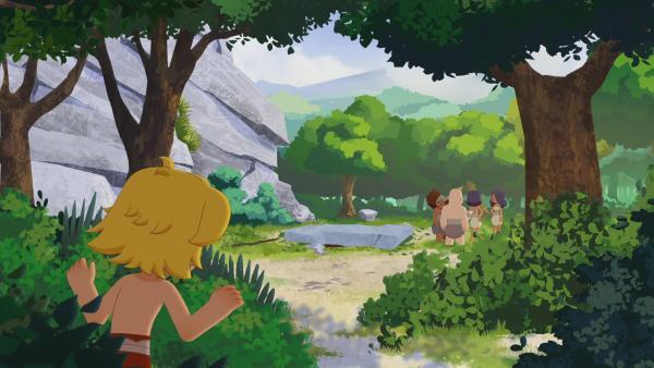 Tib beobachtet die Bären. Sie haben Tumtum gefangen. Kann Tib ihn befreien?   Rechte: KiKA/hr/TF1/GO-N Productions