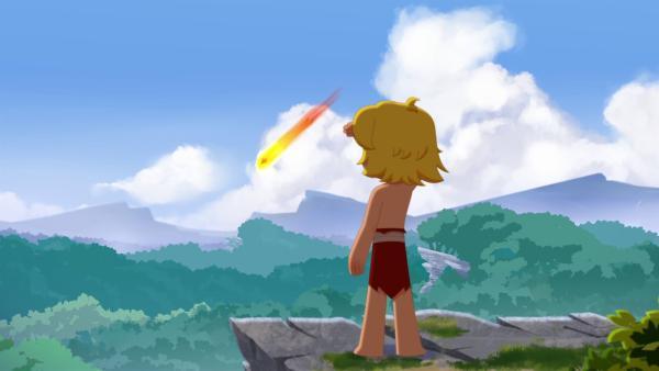 Tib beobachtet, wie ein Meteorit im Tal einschlägt.   Rechte: KiKA/hr/TF1/GO-N Productions