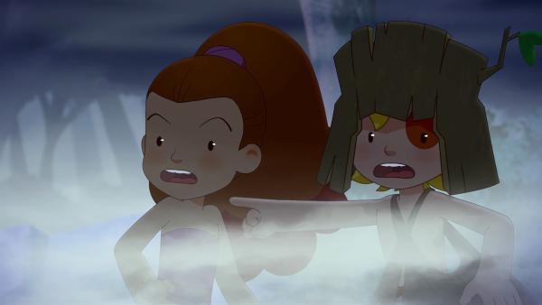 Plötzlich hören Tib und Lili gruselige Geräusche. Sind das Geister?   Rechte: KiKA/hr/TF1/GO-N Productions