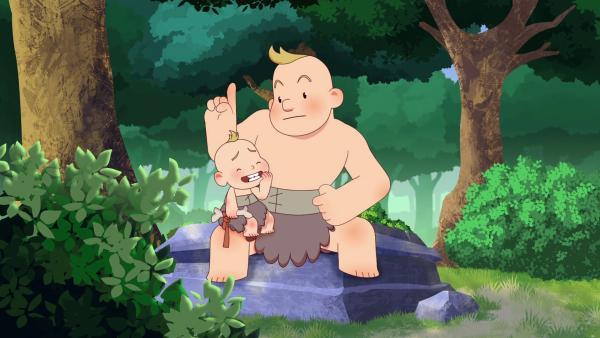Urff vom Clan der Bären muss auf seinen kleinen und ziemlich nervigen Bruder aufpassen. | Rechte: KiKA/hr/TF1/GO-N Productions