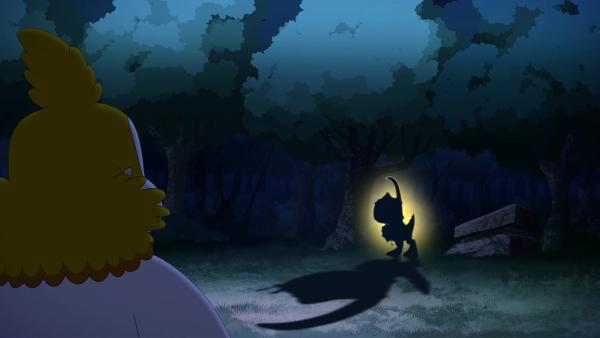 Aus dem Wald kommt eine unheimliche Kreatur auf Nob zu. Gibt Nob aus Angst zu, dass er nicht der Auserwählte ist? | Rechte: KiKA/hr/TF1/GO-N Productions