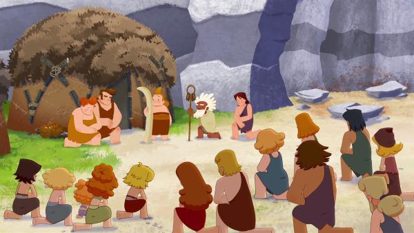 Im Dorf wird Nob als Auserwählter gefeiert, weil er erzählt hat, dass er es war, der das Horn aus dem Felsen gezogen hat. | Rechte: KiKA/hr/TF1/GO-N Productions
