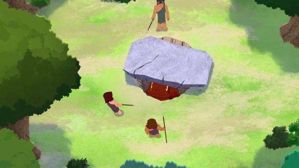 Die Jäger des Stammes haben Tumtum gefangen. Kann Tib ihn befreien und die Erwachsenen überzeugen, dass Tumtum ihnen nichts tut?   Rechte: KiKA/hr/TF1/GO-N Productions