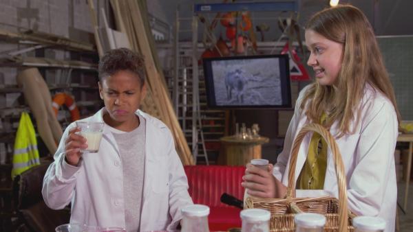 Jamey und Lina machen den ultimativen Mich-Test. | Rechte: NDR/NTR/Ketnet 2019