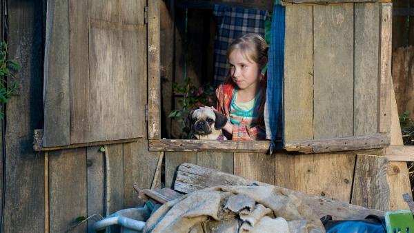 Die kleine Paulina (Tabea Hug) hat einen kleinen ungeliebten Mops entführt. | Rechte: SWR/Maria Wiesler