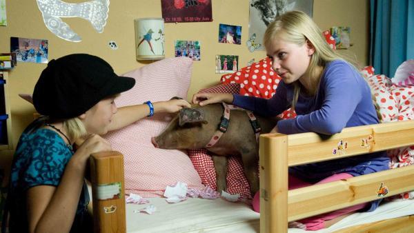 Lilie (Lotte Hanné, re.) und Nelly (Jule-Marleen Schuck) verbünden sich, um das Minischwein zu verstecken. | Rechte: SWR/Maria Wiesler