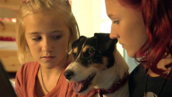 Nelly (Jule-Marleen Schuck, li.) und Jessie (Carla Halouska, re.) haben schlimme Nachrichten im Netz gefunden. | Rechte: SWR/Maria Wiesler