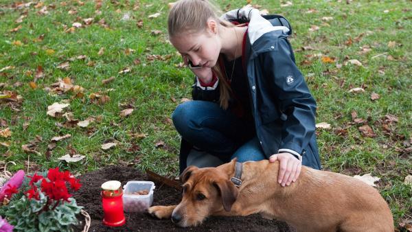 Paulina (Tabea Hug) tröstet den Hund Carlo, der um sein Frauchen trauert.  | Rechte: SWR/Maria Wiesler