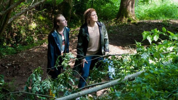 Direkt neben Paulina (Tabea Hug) und ihrer Mutter ist ein Baum umgefallen. | Rechte: SWR/Maria Wiesler
