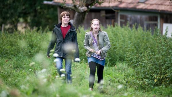 Jonas (Fynn Henkel, li.) und Greta (Enya Elstner, re.) helfen Viktor Stelzl bei der Suche nach der Ursache des Bienensterbens. | Rechte: SWR/Maria Wiesler