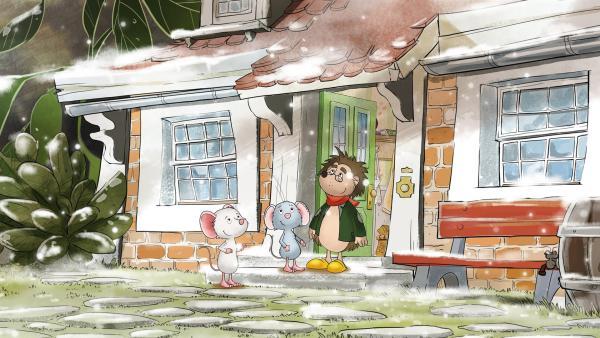 Rupert erlebt seinen ersten Schnee zusammen mit Tilda und Molly.   Rechte: MDR/WunderWerk