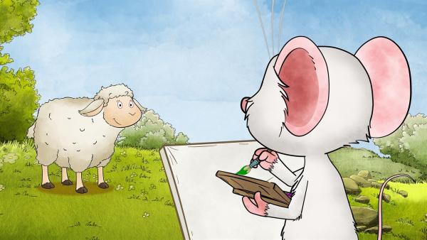 Das Schaf Patrick steht Modell für Tilda.   Rechte: MDR/WunderWerk